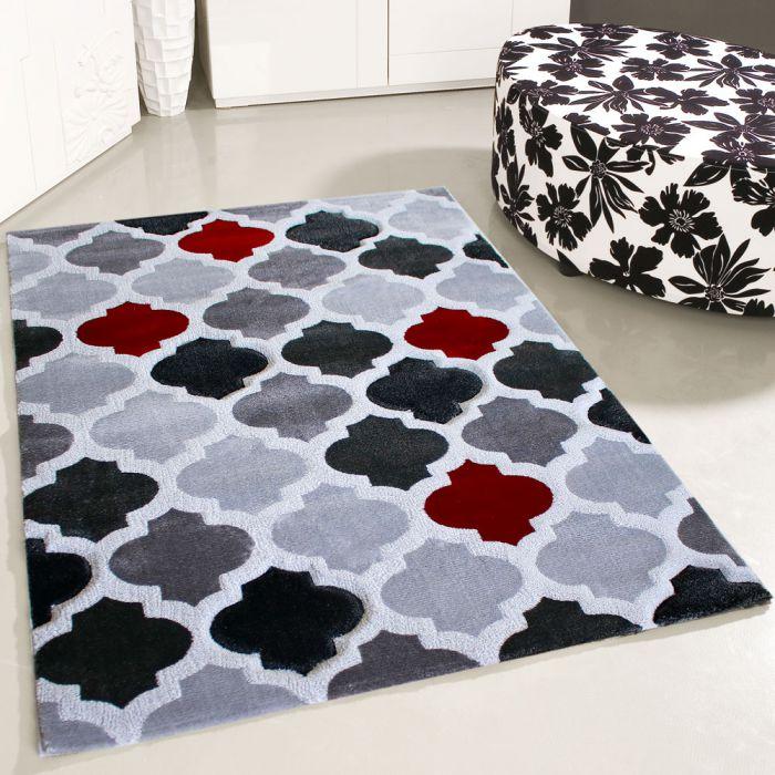 Teppich Kurzflor Modern Rot Grau Konturenschnitt Designer Wohnzimmer