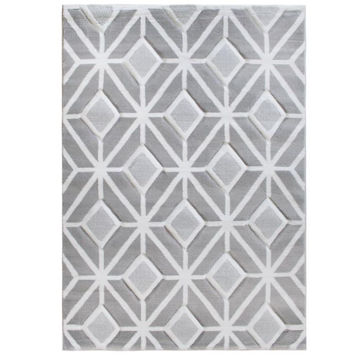 Teppich Kurzflor Grau Weiss | Modernes Design | MY309S | 120x170 cm