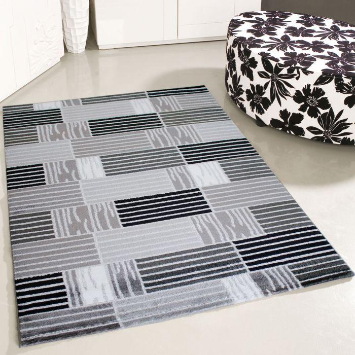 teppich grau weiss kurzflor modern kariert designer fur wohnzimmer jugendzimmer 160 cm x 230 cm
