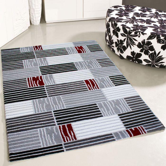 Teppich Rot Grau Kurzflor Wohnzimmer Teppiche Modern Designer Karo