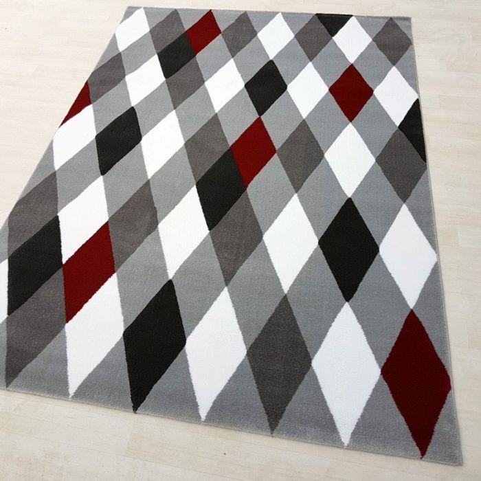 Teppich Kurzflor Modern 160x230cm Rot Weiss