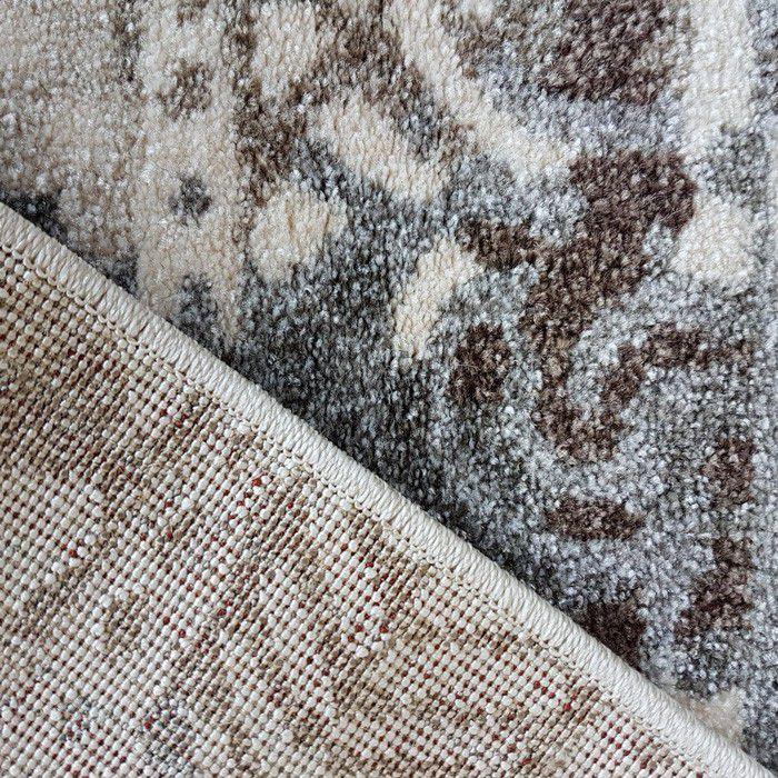 Teppich Kurzflor Modern 160x230 Cm Unikat Grau Braun Vintage