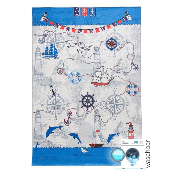 Kinderzimmerteppich waschbar | Schiffahrt Blau Grau | MY4070