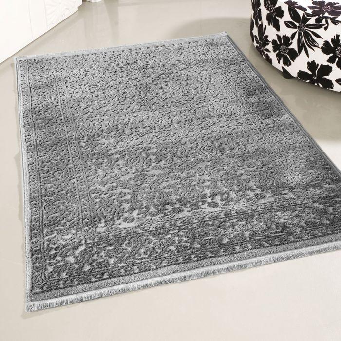 Teppich Kurzflor 3d Grau Dunkelgrau Vintage Wohnzimmer Hochwertig
