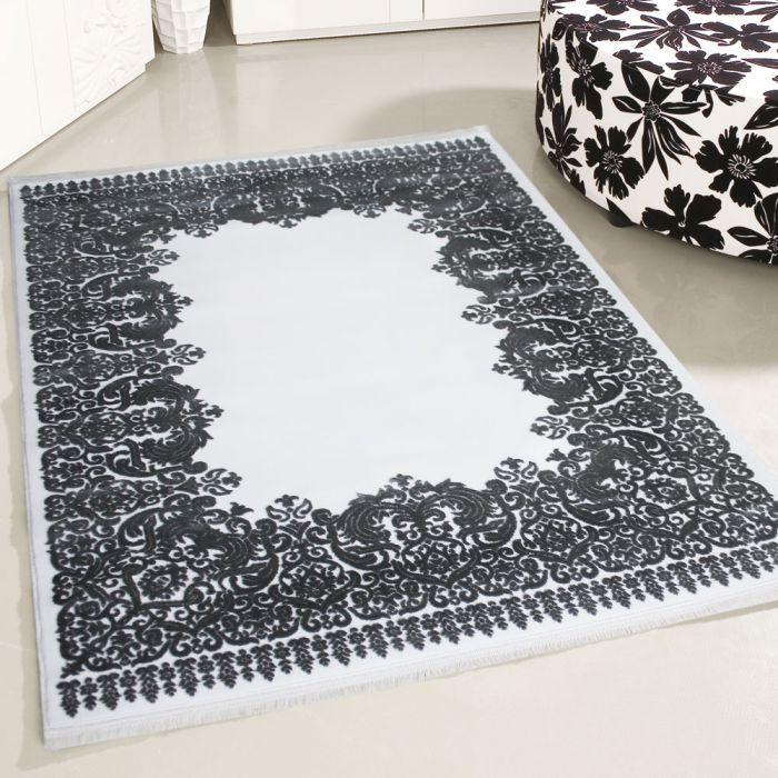 Teppich Creme Grau Wohnzimmer Kurzflor Bordure Umrandung Designer