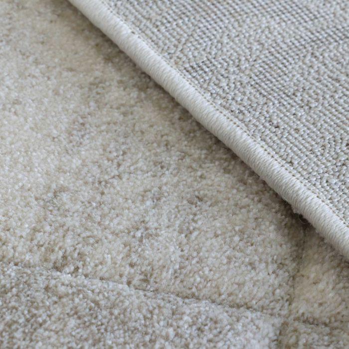 Teppich Wohnzimmer Modern Beige | Karo Muster Konturenschnitt MY7425
