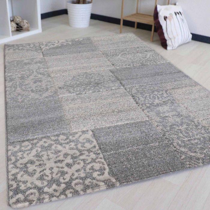 Teppich Wohnzimmer Modern Grau | Karo Muster Konturenschnitt MY7425G