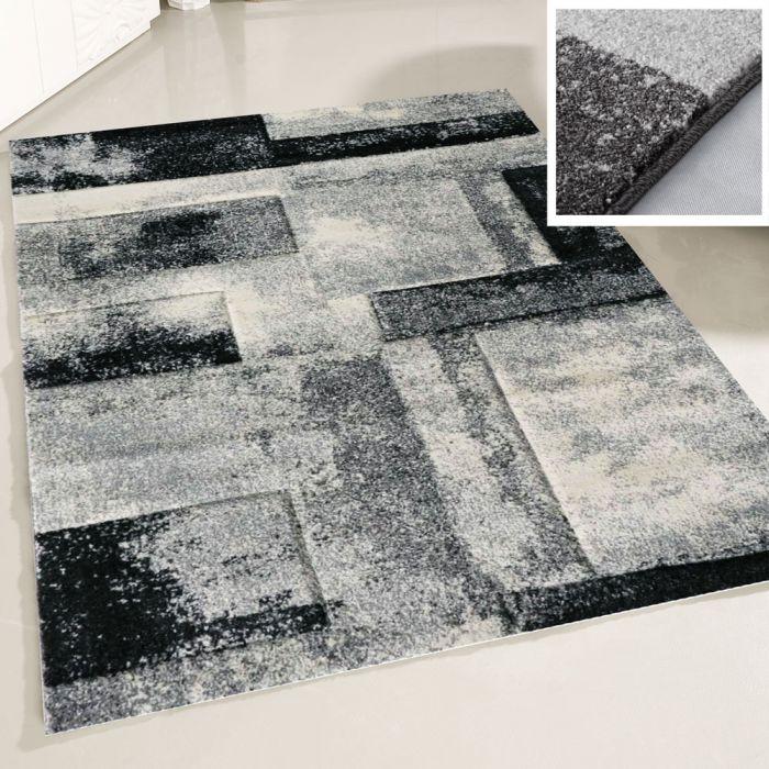 Teppich Wohnzimmer Grau | Design Marmor Meliert MY7432