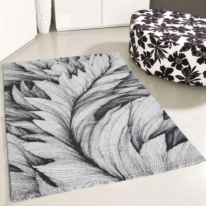 Teppich Kurzflor Feder Muster Designer Wohnzimmer Grau Weiss 120 Cm X