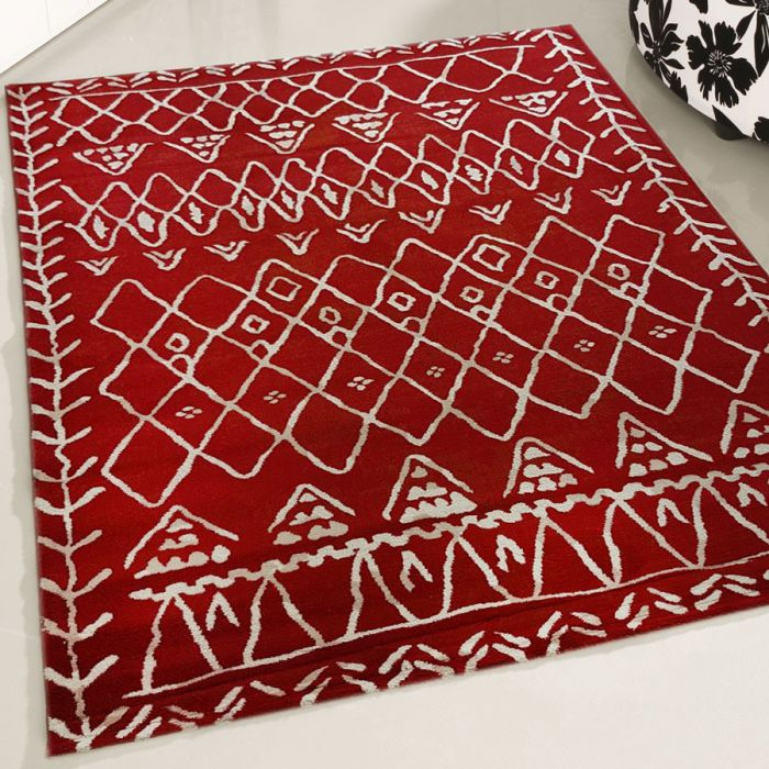 Teppich Kurzflor Vintage Boho Style Designer Wohnzimmer Rot Weiss 160