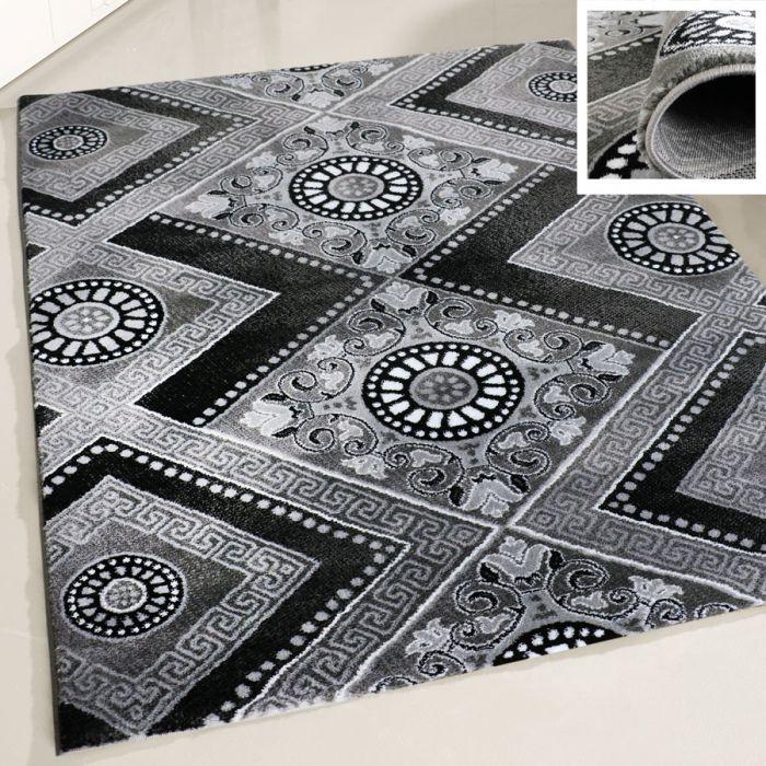 Kurzflor Teppich Schwarz Grau Wohnzimmer Versace Muster Modern