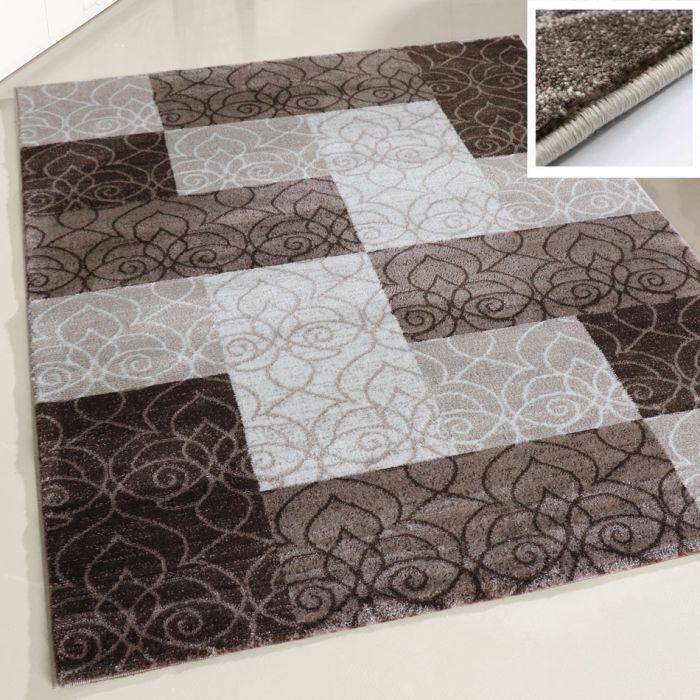 Teppich Beige Kurzflor Braun Creme Modern Wohnzimmer geometrisches Design  Karo-160 cm x 230 cm