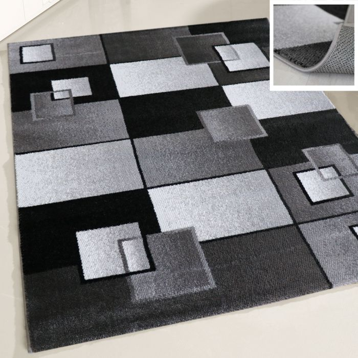 Moderner Teppich Kurzflor Designer Geometrisch Design Muster Karo