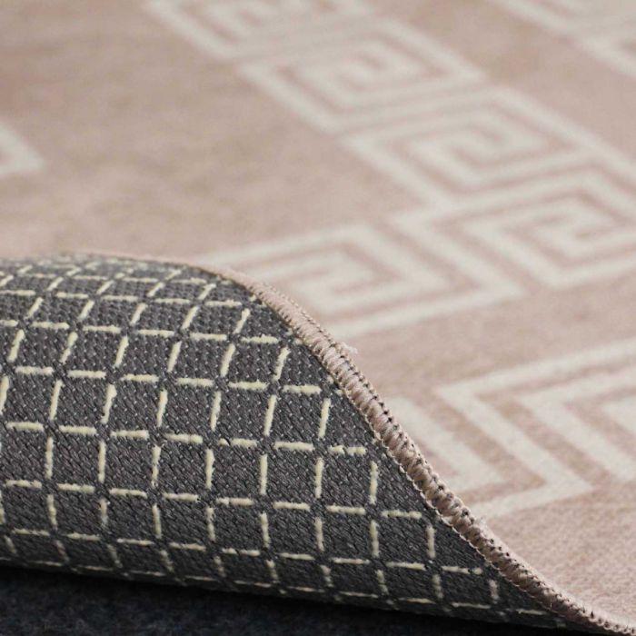 Teppich Waschbar Versace Design Beige Wohnzimmer Bad Kuche