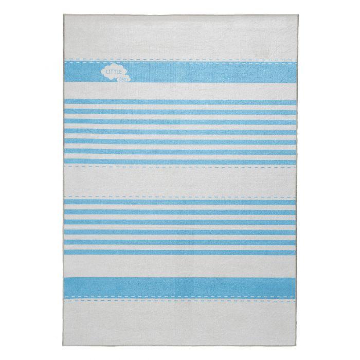 Kinderzimmerteppich waschbar | Baby Blau liniert | MY4080