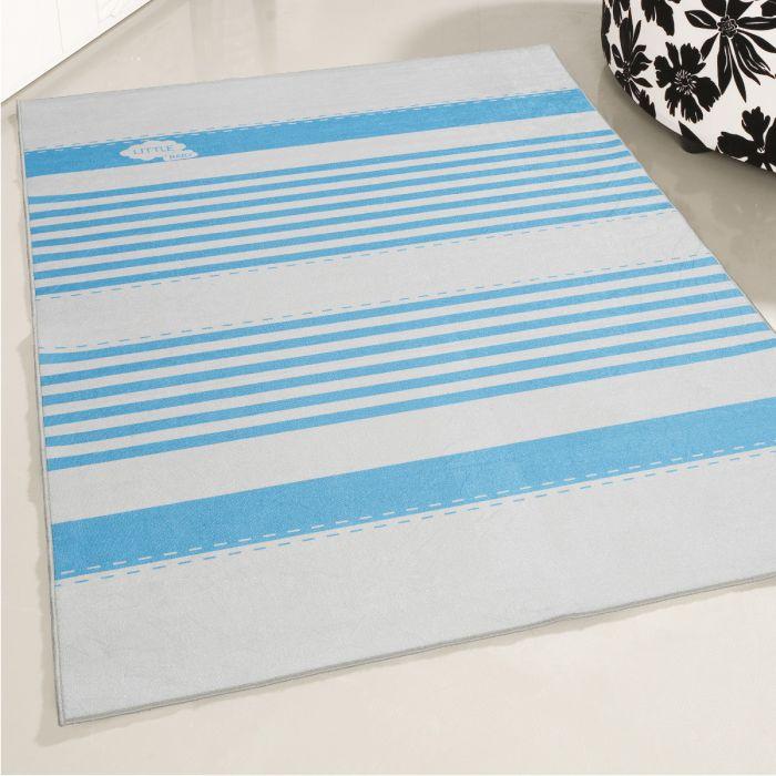 Kinderzimmerteppich Waschbar Baby Blau Liniert My4080 80 Cm X 150 Cm