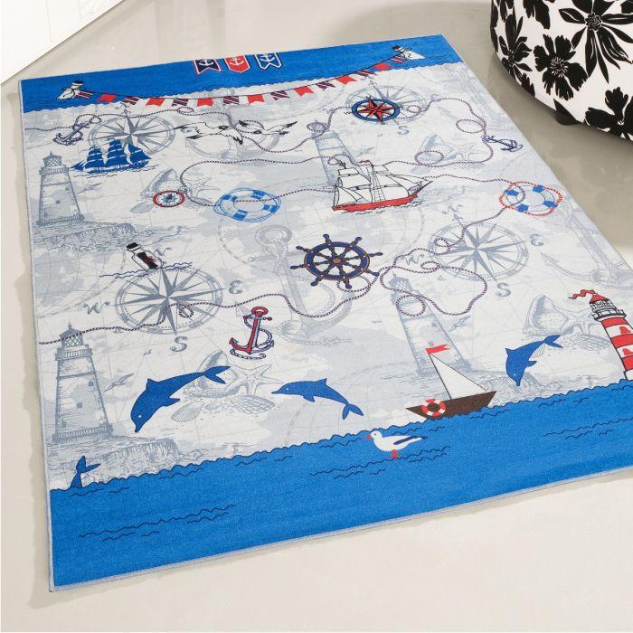Kinderzimmerteppich waschbar | Schiffahrt Blau Grau | MY4070 | 80 cm x 150  cm