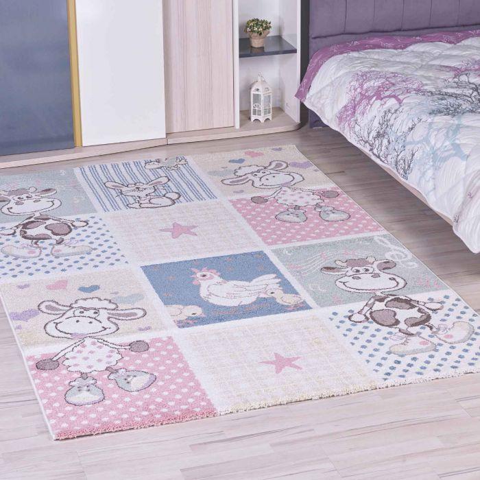 Kinderzimmer Teppich Bunt | Tiermotiven für Jungs | Mädchen Nr.4605