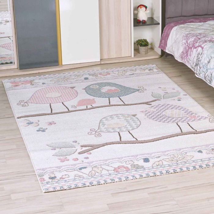 Kinderzimmer Teppich Bunt | Vogelmotiven für Jungs | Mädchen Nr.4606