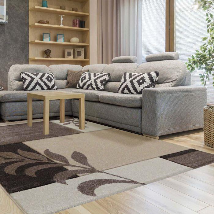 Moderner Kurzflor Teppich Mit Halbkreis Motiv 3D Effekt In Braun Beige SALE