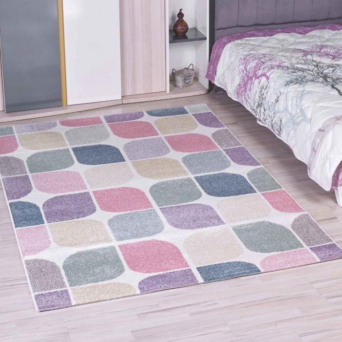Kinderzimmer Teppich Bunt | Geometrische Muster für Jungs | Mädchen Nr.4608
