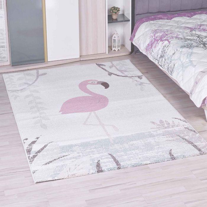 Kinderzimmer Teppich Bunt | Schwan/Pelikan Muster für Jungs | Mädchen  Nr.4610