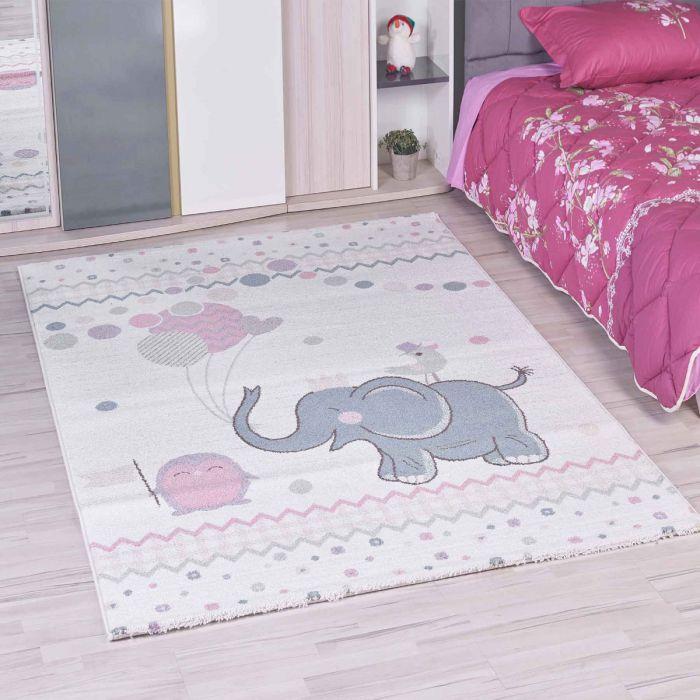 Kinderzimmer Teppich Bunt | Elefant Ballon Muster für Jungs | Mädchen  Nr.4611