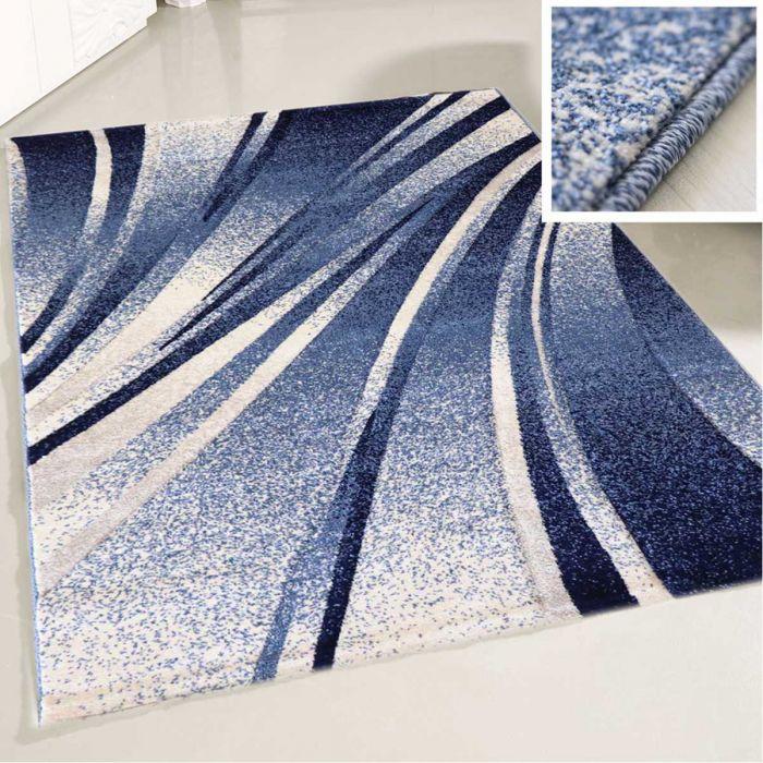 Teppich Kurzflor Blau Design Geometrische Konturen My7510