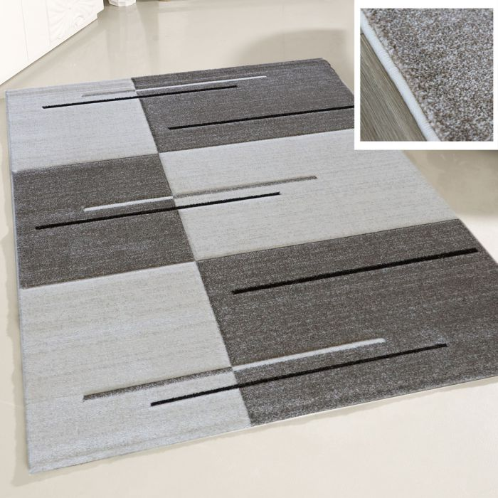 Teppich Wohnzimmer Modern Beige | Kurzflor Kariert mit Konturen MY7423 |  120x170 cm