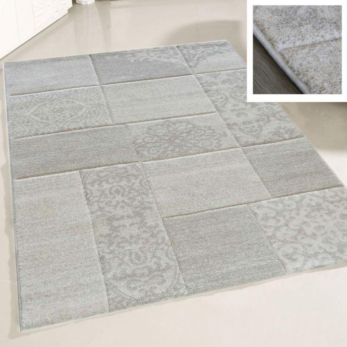 Teppich Wohnzimmer Modern Beige | Karo Muster Konturenschnitt MY7425 |  200x290 cm
