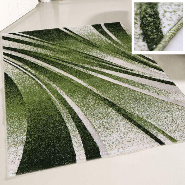 Teppich Designer Kurzflor Grün für Wohnzimmer Modern pflegeleicht ...