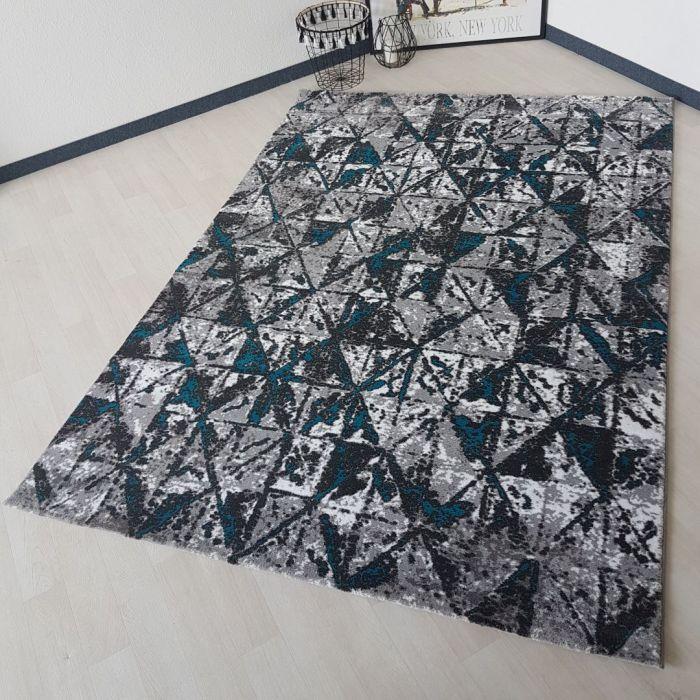 Teppich Kurzflor Modern 160x230 Cm Unikat Grau Blau