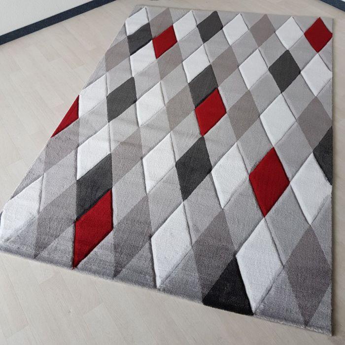 Teppich Kurzflor Modern 160x230 Cm Unikat Rot Grau Weiss