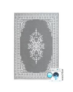Antibakteriell Teppich Waschbar Grau | Medaillon in Bordüre Style | MY2000S