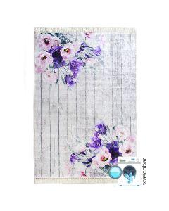 Antibakteriell Waschbarer Teppich Lila | Blumen Landhausstil Shabby | MY2110