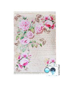 Antibakteriell Waschbarer Teppich Rosa | Blumen Shabby Chic Landhausstil | MY2130