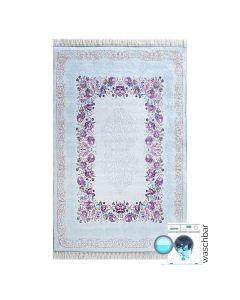 Antibakteriell Waschbarer Teppich Türkis | Moderne Blumen Umrandung | MY2410