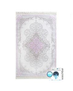 Waschbarer Teppich Antibakteriell Rosa Moderne Medaillon Design M2516