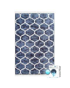 Antibakteriell Waschbarer Teppich Blau Weiss Edel | Marokanisches Design | MY2730
