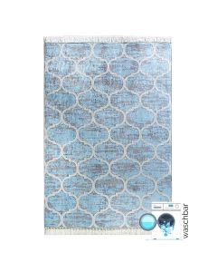 Antibakteriell Waschbarer Teppich Hell Blau Meliert | Marokkanisches Design | MY2740