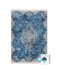 Antibakteriell Waschbarer Teppich Blau Gold   Vintage Muster mit Melierung   MY2820