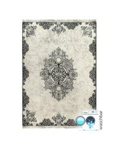 Antibakteriell Waschbarer Teppich Schwarz | Vintage Muster mit Melierung | MY2821