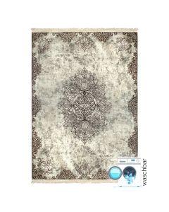 Waschbarer Teppich Antibakteriell Beige Vintage Muster Meliert M2822