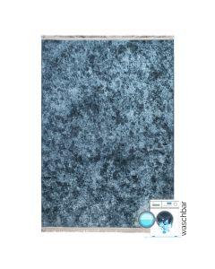 Waschbarer Teppich Antibakteriell Blau Moderne Linien Melierung M2860