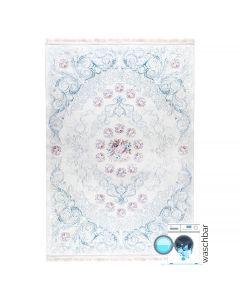 Antibakteriell Waschbarer Teppich Weiss Blau | Barock mit Blumenmuster | MY2880