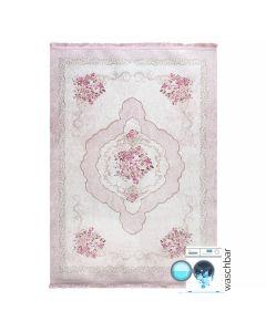 Antibakteriell Waschbarer Teppich Rosa   Blumenmuster Barock   MY2911