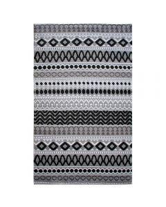 Teppich Kurzflor Schwarz Grau | Boho Boheme Muster | MY312S