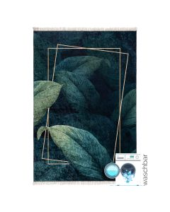 Waschbarer Teppich Antibakteriell in Grün Gold Floral Design M5300