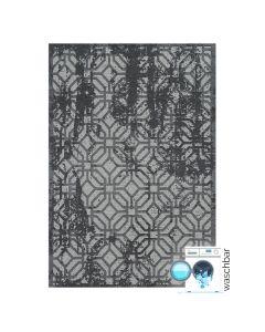 Antibakteriell Baumwolle Teppich Waschbar | Modern Geo Motiv Grau | MY6930
