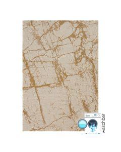 Antibakteriell Baumwolle Teppich Waschbar | Abstrakt Marmor Look Gelb | MY6950
